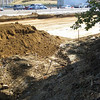 Grading in progress before paving, but loose soil pile being created at head of conveyance channel before predicted heavy rain.  Southwest quadrant of I-495/Rt 236 Rd interchange. 13 Oct 2010